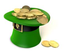 Leprechaun hat filled with gold Stock Illustration