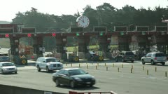 Toll booth morning commute 25p - stock footage