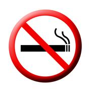 3d no smoking sign on white - stock illustration