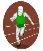 Stock Illustration of Athlete Running on Athletic Field