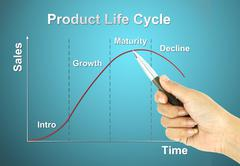 Stock Illustration of a pen pointer product life cycle chart