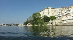 Timelapse view from boat on lake and palaces in Udaipur India - 4k Stock Footage