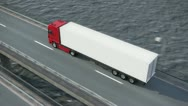 Stock Video Footage of truck on bridge from above
