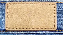 yellow label on jeans - stock photo