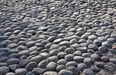 old grunge grey cobble stone - stock photo