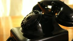 Vintage black telephone. Man dials Stock Footage