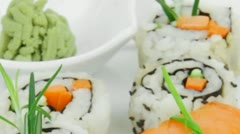 Maki Rolls and California rolls made of fresh raw Salmon Tuna and Eel Stock Footage