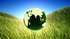 Recycling planet on green field background. Stock Footage