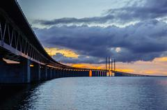Sunset behind the Øresund Bridge Stock Photos
