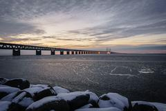 Icy waters by the Øresund Bridge Stock Photos