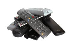 lot of remote control devices - stock photo