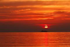 sunset at the ko phangan island - stock photo