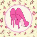 Retro female shoes background Stock Illustration