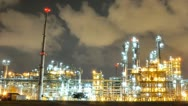 Stock Video Footage of Night scene of Oil and Chemical Plant - Time Lapse