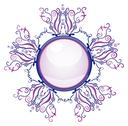Stock Illustration of violet and blue brooch.