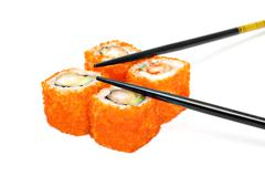 sushi set - four rolls with red caviar - stock photo