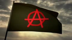 Anarchist flag 03 Stock Footage