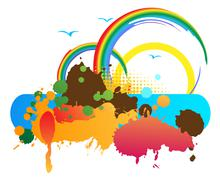 Banner with splash Stock Illustration