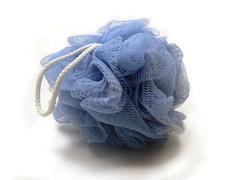 Blue mesh loofah Stock Photos