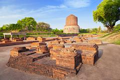 dhamekh stupa ruins - stock photo
