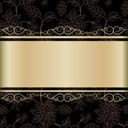 calligraphic gold background - stock illustration