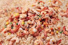 Shrimps with rice Stock Photos