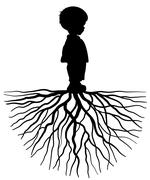 child with root - stock illustration