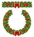Christmas holly wreath Stock Illustration