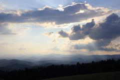 Crepuscular rays on the Blue Ridge Parkway - stock photo