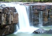 Waterfall tadtone in climate forest of thailand top perspective Stock Photos