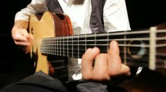 Man playing Acoustic guitar music musical musician flamenco band jazz spain Stock Footage