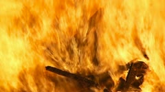 Fire pyre burning wood detail Stock Footage