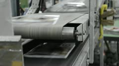 Book and magazine perfect bound production line. transportation track / belt Stock Footage