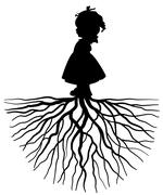 Girl with root Stock Illustration