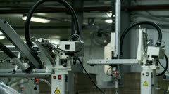 Industrial robots in the factory Stock Footage