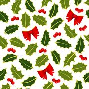 holly leafs seamless - stock illustration