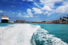 oranjestad harbor, aruba - stock photo