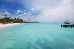 palm beach, aruba - stock photo
