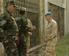 Buffer Zone, green line, Nicosia, Cyprus, Turkish military with UN-JPEG ph Stock Footage