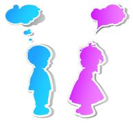 children with speech bubbles - stock illustration