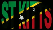 St Kitts text with fluttering flag animation Stock Footage