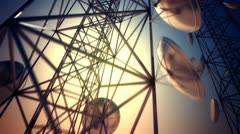 Communication tower, Broadcasting, telecommunication, wireless antenna, cell. Stock Footage