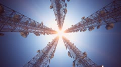 Communication tower, Broadcasting, telecommunication, wireless antenna, cell. - stock footage