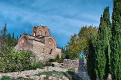 Old ancient church st. john / jovan kaneo lower view at lake ohrid, macedonia Stock Photos