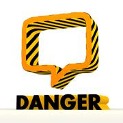 Stock Illustration of risky speach balloon icon with warning pattern