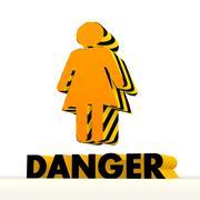 Dangerous woman symbol with warning pattern Stock Illustration
