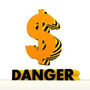 dangerous dollar icon with warning pattern - stock illustration