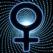 Stock Illustration of disco lights effect with woman light icon