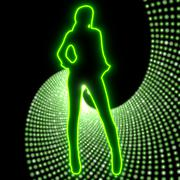 Disco party night symbol with sexy woman light sign Stock Illustration