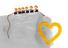 comic construct heart 3d illustration - stock illustration